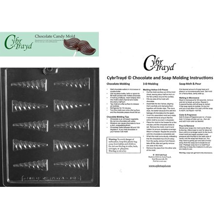 Unicorn Horn Chocolate Candy Mold with Exclusive Cybrtrayd Copyrighted Molding Instructions - Make A Unicorn Horn