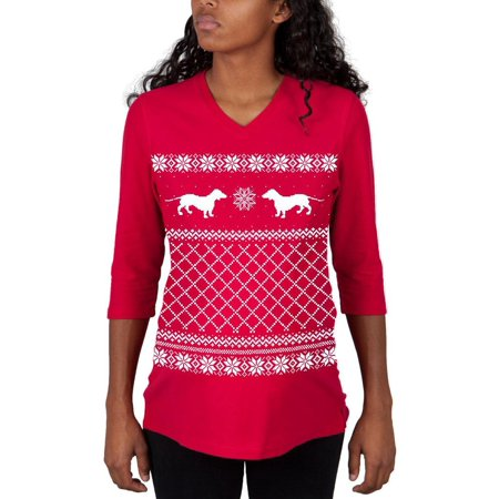 dachshund ugly christmas sweater red maternity 34 sleeve t shirt - Red Ugly Christmas Sweater