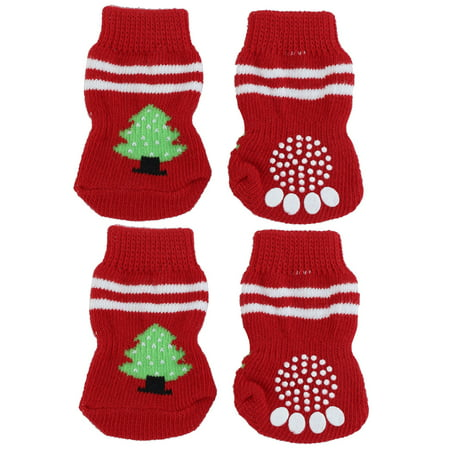 Unique Bargains 4 Pcs Tree Pattern Red Knitted Walking Bootie Non-slip Warm Pet Doggie Dog Socks