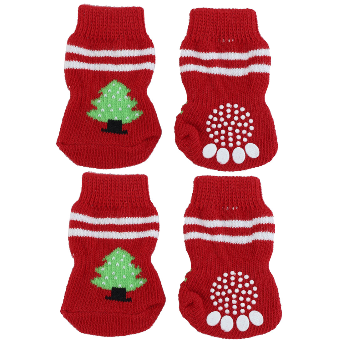 Unique Bargains 4 PCS Red Antislip Winter Bootie Socks for Dog Puppy