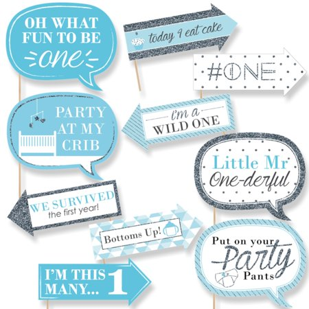 Funny Fun to be One - 1st Birthday Boy - First Birthday Party Photo Booth Props Kit - 10 Count - 1st Birthday Games