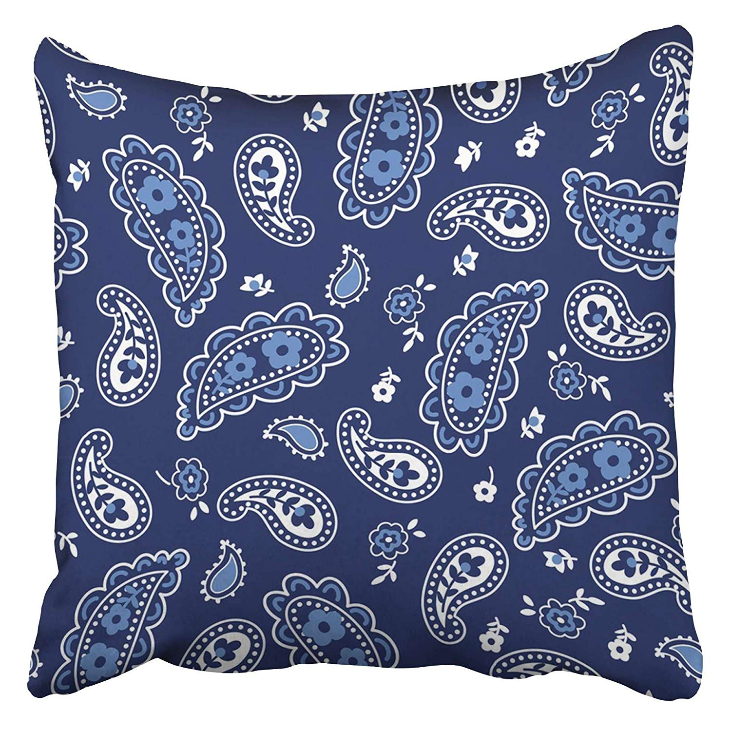 USART Navy Western Cute Bandana Paisley Pattern Blue Floral Kids Small Baby Bandanna Black Pillow Case Cushion Cover 16x16 inch