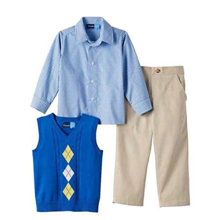 Mens Great Gatsby Outfits (Infant Boys 3-Piece Dress Up Outfit Blue Sweater Vest Plaid Shirt &)