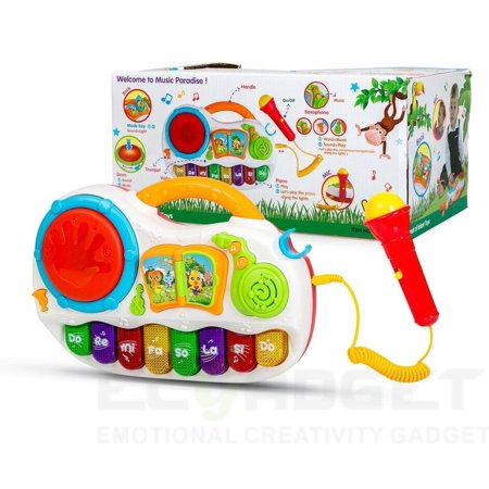 Dj Funk Drum (Play Baby Toys Discover And Play Music, Magical Piano With Sing Along Karaoke MIcrophone & Tap Me Drum Effect & Twisted DJ)