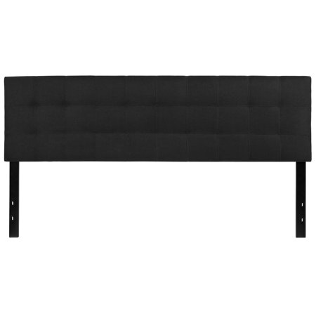 tufted upholstered king size headboard in black fabric. Black Bedroom Furniture Sets. Home Design Ideas
