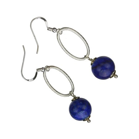 Sterling Silver Blue Lapis Stone Large Oval Link Chain Earrings