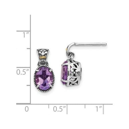 14k /Silver Two-Tone w/ Amethyst (6x14mm) Earrings - image 1 de 3