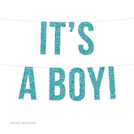 Baby Blue It's a Boy! Real Glitter Paper Pennant Hanging Banner Includes String No Assembly Required (Its A Boy Banner)