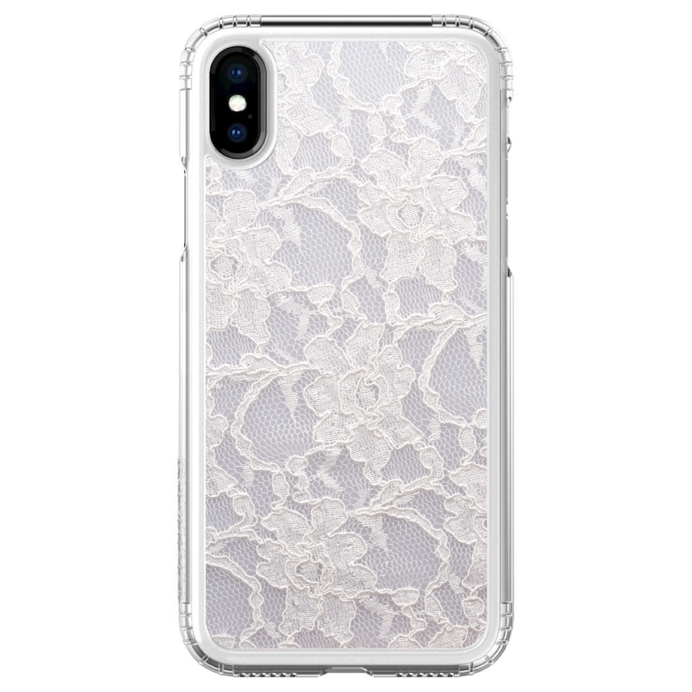 """SaharaCase iPhone X / XS (5.8"""" Screen) Clear Shockproof Custom Case By DistinctInk - Protective Kit & ZeroDamage Screen Protector - White Lace Wedding"""