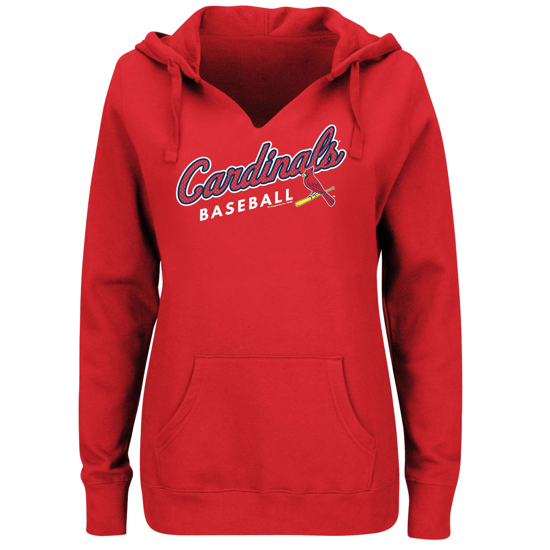Women's Majestic Red St. Louis Cardinals Fresh & Exciting V-Neck Pullover Hoodie