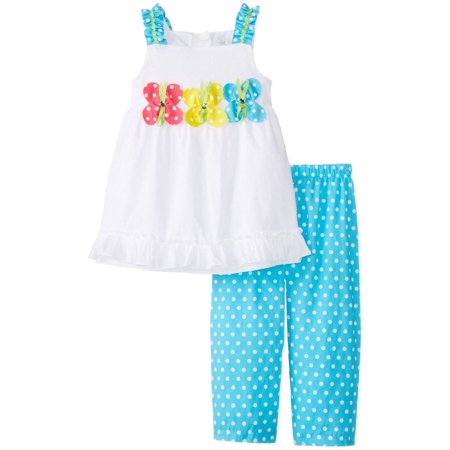 Infant Baby Girls Triple Butterfly Clipdot Capri Set 12 months