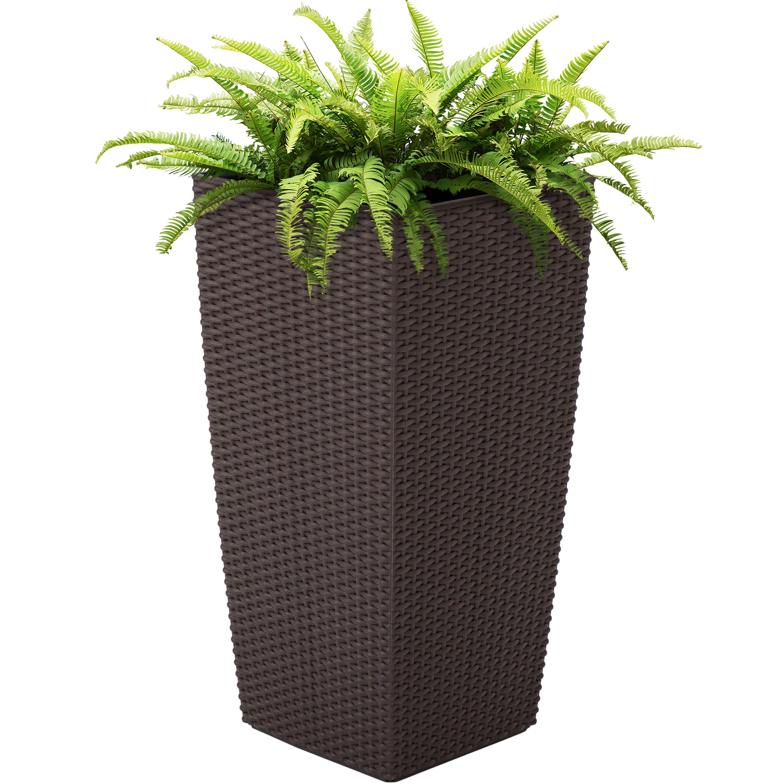 Best Choice Products Self Watering Garden Patio Wicker Planter W  Rolling Wheels Outdoor... by