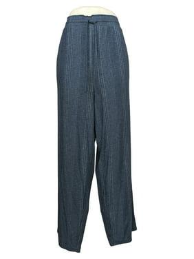 Carole Hochman Women's Plus Sz 1X Variegated Rib Lounge Pants Blue A391454