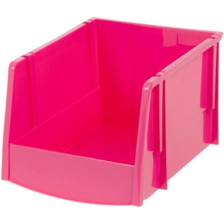iris extra large stacking storage bin pink set of 6. Black Bedroom Furniture Sets. Home Design Ideas