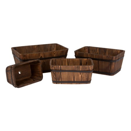Shine Company Rectangular Cedar Barrel Set of 4 - Burnt Brown