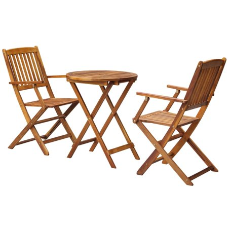 3 Piece Folding Bistro Set Solid Eucalyptus Wood