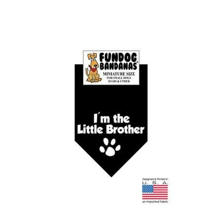 MINI Fun Dog Bandana - I'm the Little Brother - Miniature Size for Small Dogs under 20 lbs, black pet scarf - Halloween Dog Bandanas Wholesale