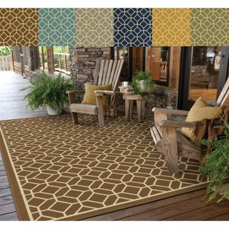 Style Haven Rio Mar Tile Inspired Trellis Pattern Indoor/ Outdoor Area Rug This beautiful geometric tile pattern area rug will help your outdoor spaces feel more like home with its wide range of cool and bright colors. This durable polypropylene rug will endure the elements and continue to look great for many years.Machine wovenDurable with easy care and cleaningPrimary materials: 100 percent polypropyleneLatex: NoPile height: .16 inchesStyle: Indoor/OutdoorPrimary color: MultiSecondary colors:  Brown, Light Blue, Stone, Cobalt, Gold, GreenPattern:  GeometricTip: We recommend the use of a  non-skid pad to keep the rug in place on smooth surfaces.All rug sizes are approximate. Due to the difference of monitor colors, some rug colors may vary slightly. Overstock.com tries to represent all rug colors accurately. Please refer to the text above for a description of the colors shown in the photo.Tip: We recommend the use of a  non-skid pad to keep the rug in place on smooth surfaces.All rug sizes are approximate. Due to the difference of monitor colors, some rug colors may vary slightly. Overstock.com tries to represent all rug colors accurately. Please refer to the text above for a description of the colors shown in the photo.Tip: We recommend the use of a  non-skid pad to keep the rug in place on smooth surfaces.All rug sizes are approximate. Due to the difference of monitor colors, some rug colors may vary slightly. Overstock.com tries to represent all rug colors accurately. Please refer to the text above for a description of the colors shown in the photo.
