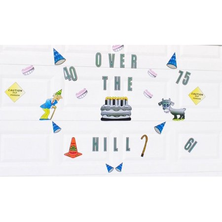 Over The Hill Birthday Cake Old Man Party Hats Funny Magnetic Door Decorations