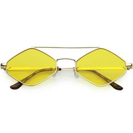 Diamond Shape Sunglasses Metal Crossbar Crossbar Color Tinted Lens 55mm (Gold / Yellow)