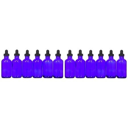 12 - 4oz Blue Glass Bottle with Glass Dropper