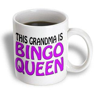 3dRose This grandma is bingo queen, Purple,, Ceramic Mug, 11-ounce