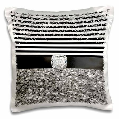3dRose Black and White Stripes Digital Diamond, Silver Glitter Design - Pillow Case, 16 by - Stripes Design Diamond