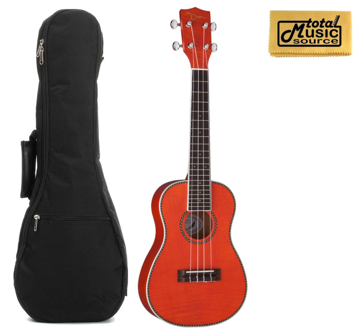 Dean Guitars Flame Maple Concert Ukulele Trans Amber w/ Padded Gigbag & PC ,UKE DC FM TAM BAGPC
