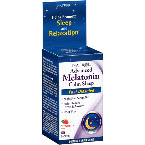 Natrol Calm Sleep Advanced Melatonin Strawberry Flavor Fast Dissolve Tablets, 60 count
