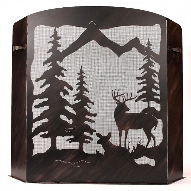 Coast Lamp Manufacturer 15-R29DS Small Iron Deer Scene Fireplace Screen Burnt Sienna by Coast Lamp Manufacturer