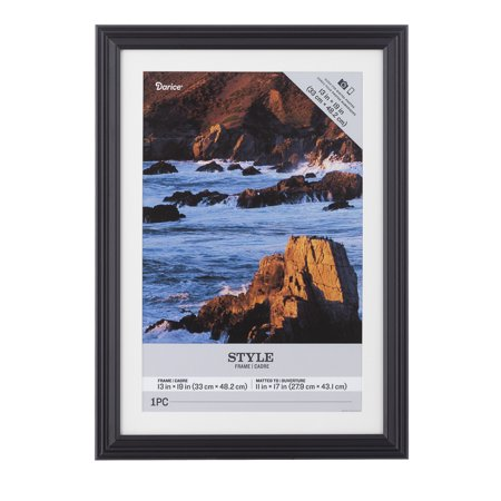 Darice Black Wood Matted Picture Frame, 13x19 to 11x17 Inches ()