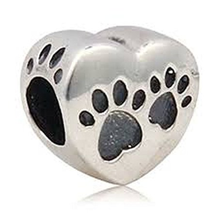 Heart Paw Charm (Buckets of Beads Love Heart Dog Paw Charm Beads Fits Most Major Charm Bracelets For Women Girls )