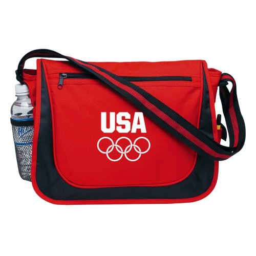 Team USA Olympic Games Red Messenger Bag w-Matching Striped Handle