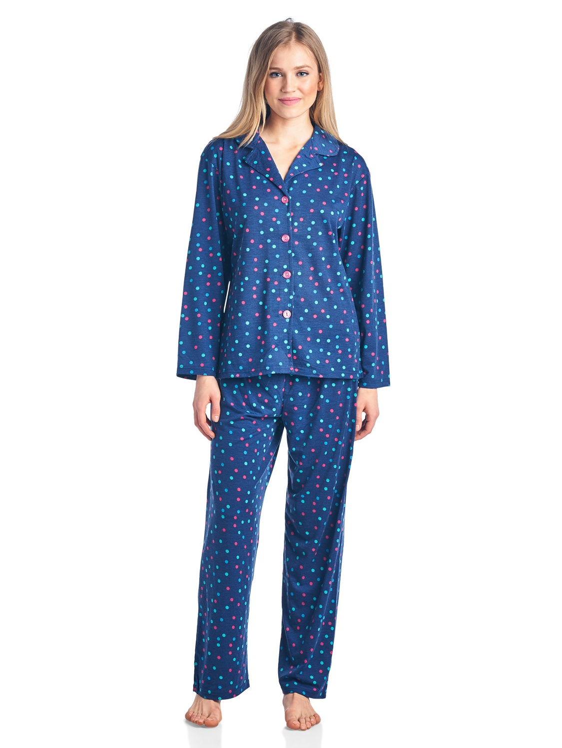 87f52766 BHPJ By Bedhead Pajamas Women's Brushed Back Soft Knit Pajama Set - Navy  Sweater Dog