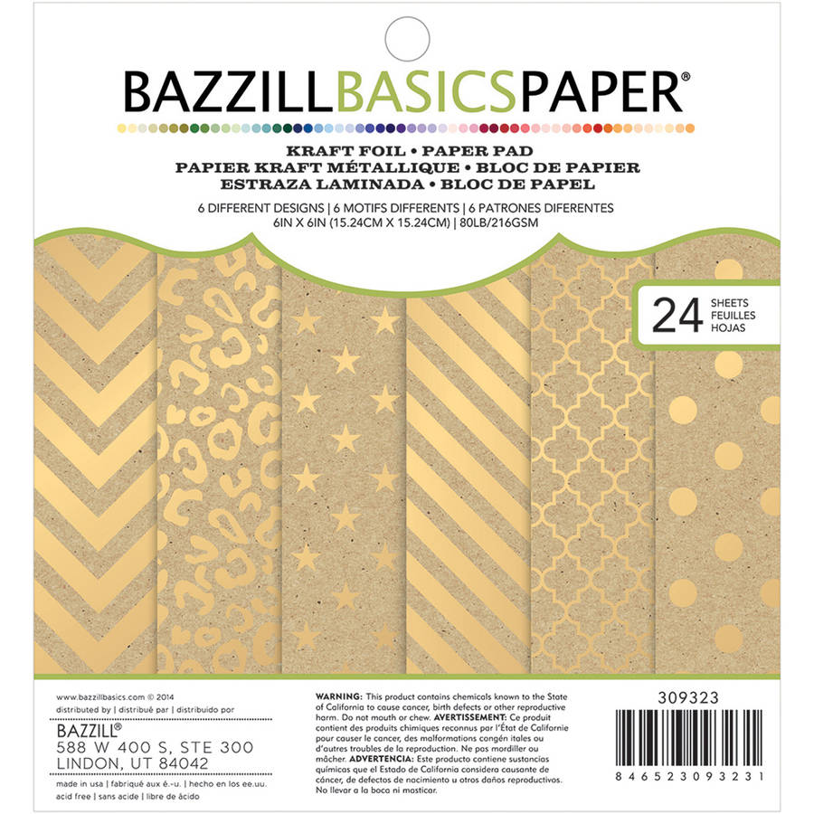 "Bazzill Basics Cardstock Pad, 6"" x 6"", 24pk, Kraft with Gold Foil"