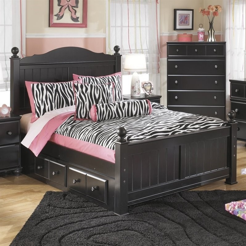 Ashley Jaidyn Wood Twin Poster Panel Drawer Bed in Black by Ashley Furniture
