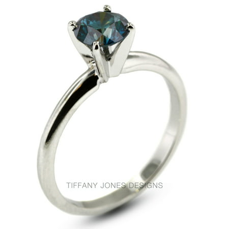 1.01ct Blue-VS2 Ex Round Natural Diamond 14k Gold Classic Solitaire Ring 2.5gram (Tiffany Diamond Ring)