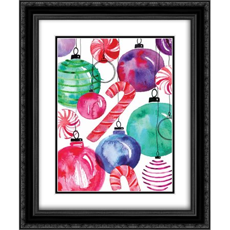 Candy Cane Ornaments 2x Matted 20x24 Black Ornate Framed Art Print by Berrenson, - Black Candy Canes
