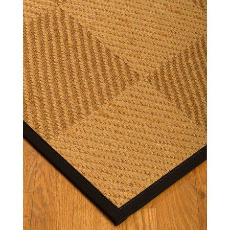 NaturalAreaRugs Osaka Sisal Area Rug (2-Feet by 3-Feet) Black Border (Black And Gold Border)