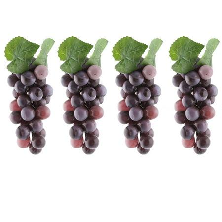 Grape Kitchen Decorations - Plastic Desk Table Decoration Simulation Artificial Fruit Grape Purple 4 Pcs