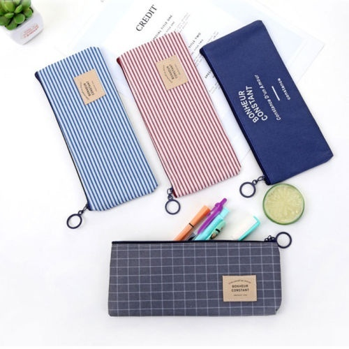 New fashion canvas zipper fabric pencil case pencil stationery bag