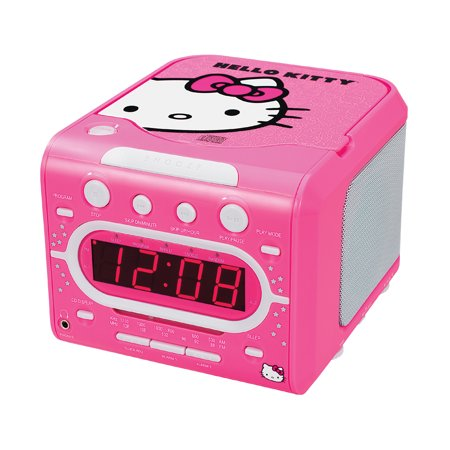hello kitty am fm stereo alarm clock radio with top loading cd player. Black Bedroom Furniture Sets. Home Design Ideas