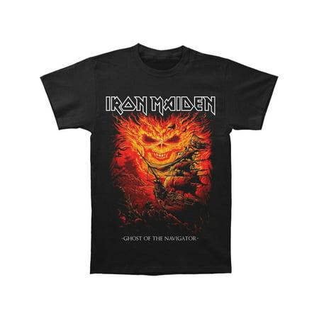 Iron Maiden Men's  Dark Ink Ghost Of The Navigator T-shirt Black - Iron Maiden Halloween Wallpaper