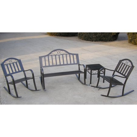 Oakland Living Rochester 4 pc. Outdoor Iron Rocker Set without Cushions