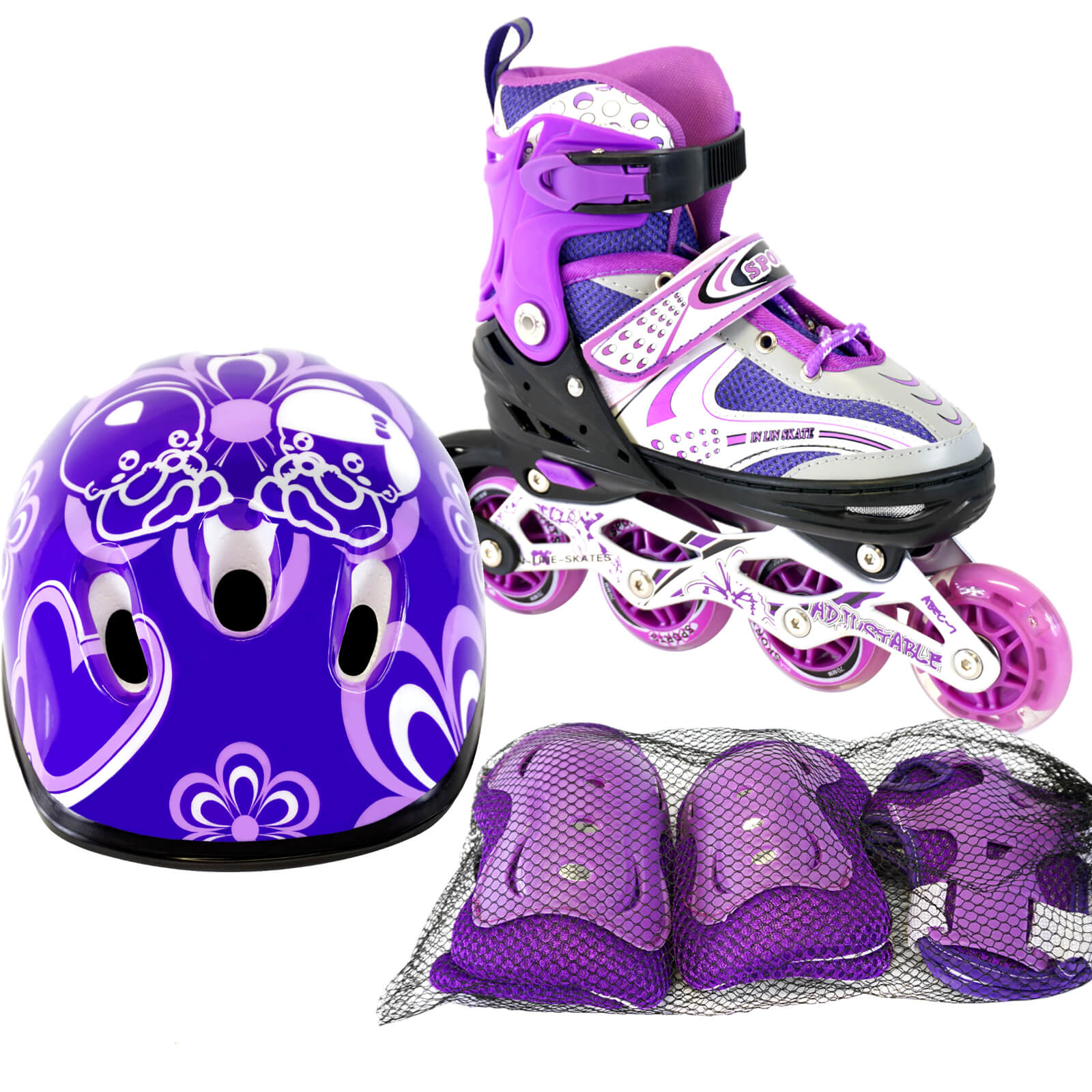 Size 11J-2 Adjustable Kids Light Up Inline Skates Complete Set