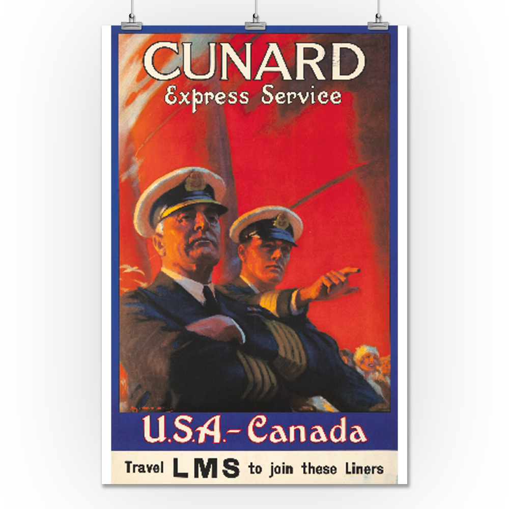 POSTER CUNARD LINE TO UNITED STATES CANADA SHIP TRAVEL VINTAGE REPRO FREE S//H