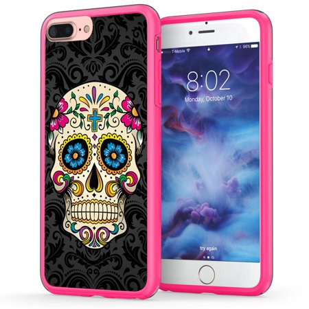 iPhone 7 Plus Skull Case, True Color Colorful Sugar Skull on Damask HD Printed Hybrid Cover Hard + Soft Slim Durable Protective Shockproof Rubber TPU Bumper - Hot Pink