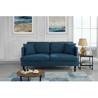 Modern Upholstered Loveseat Sofa/Couch (Blue)