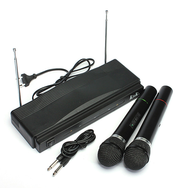 Cordless Wireless Mic Microphone Dual+ Receiver for Karaoke DJ Sing Songs