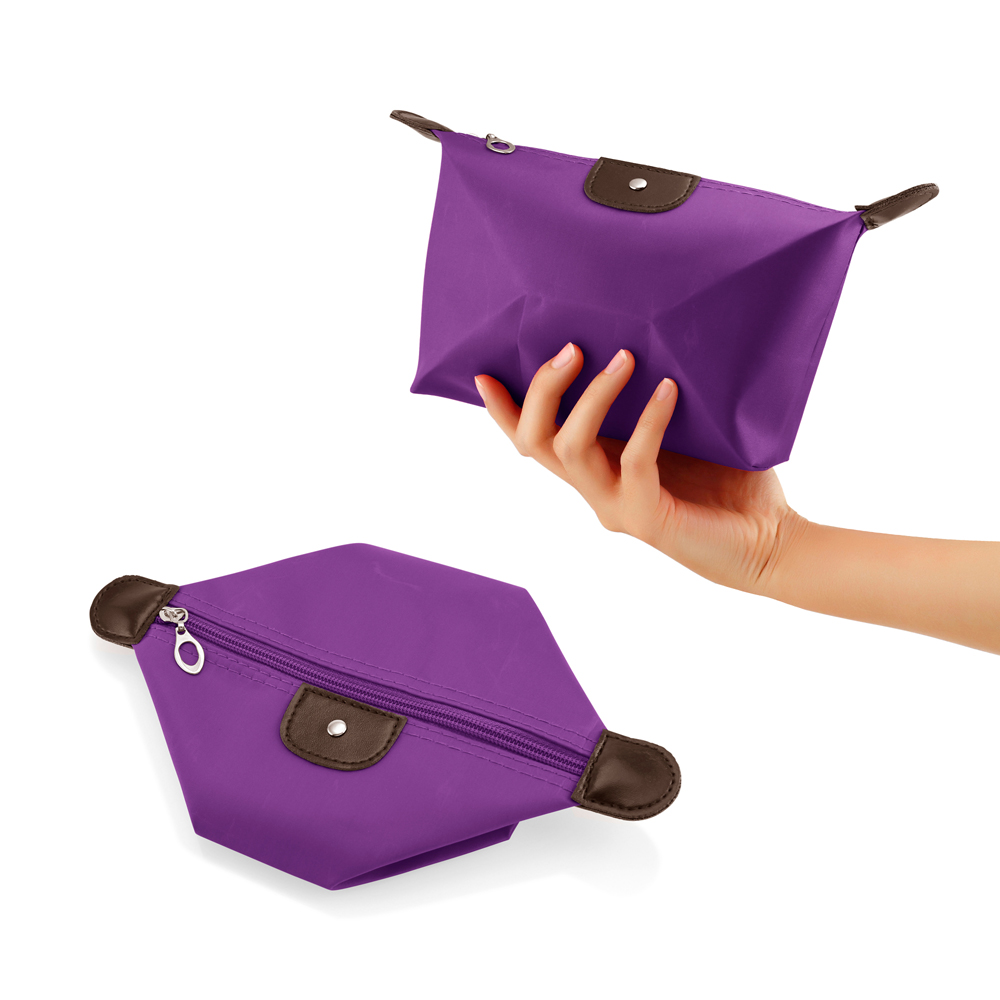 Travel Cosmetic Bag Storage Pouch Purse Makeup Case Multifunction Toiletry Zipper Organizer Handbag    - Purple